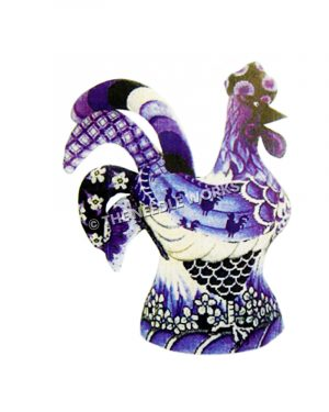 blue and white rooster with flowers, checkered, and stripes design