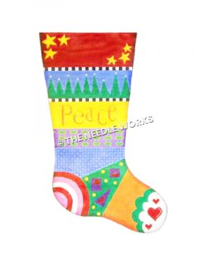 stocking with colorful designed stripes and Peace written on yellow stripe