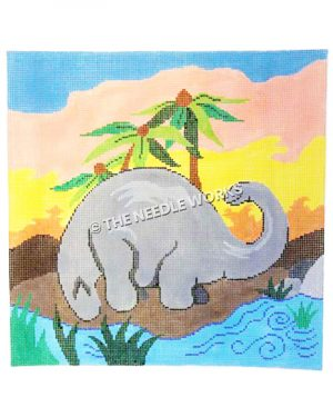 gray brontosaurus next to water and palm trees with colorful sunset sky