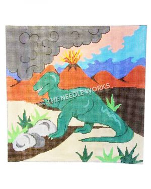 green T-Rex on desert landscape with volcano in background