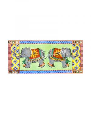 gray circus elephants wearing sunflower blanket with yellow fringe and blue, red, and yellow border