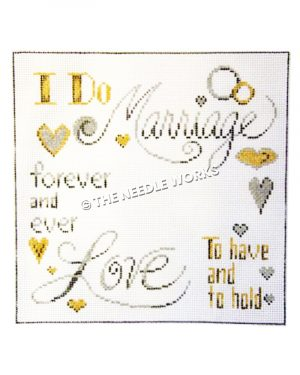 marriage pillow with words I Do, Marriage, forever and ever, Love, and To have and to hold with silver and gold hearts on white background