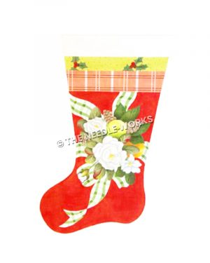 red stocking with white flowers and green and white plaid ribbon