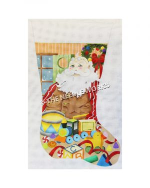 stocking decorated with Santa wearing glasses on head surrounded by toys with winter window and striped wallpaper in background