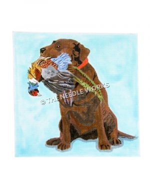 brown bird dog with multi-colored pheasant in mouth on light blue background