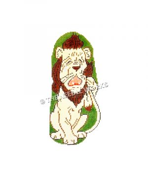 cowardly lion crying and drying eyes with tail on green background