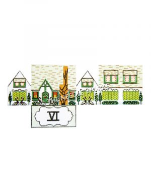 12 Days of Christmas themed 3D white and green house and six geese laying with roman numeral six