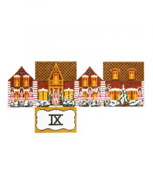 12 Days of Christmas themed 3D brown and yellow house and nine ladies dancing with roman numeral nine