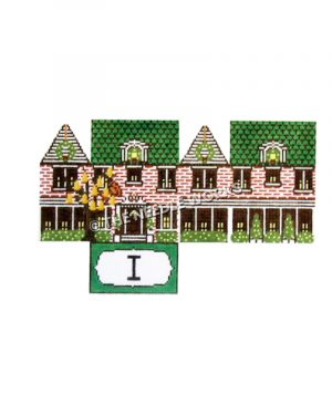 12 Days of Christmas themed 3D green and red house with partridge in pear tree and roman numeral 1