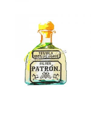 white bottle of patron with words Tequila 100% agave silver Patron written