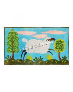 black and white sheep jumping with green trees and plants on blue background