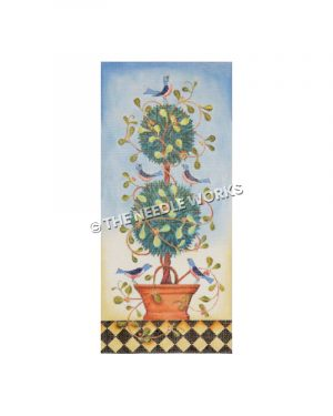 green topiary with bluebirds on blue and yellow background and black and white checkered floor