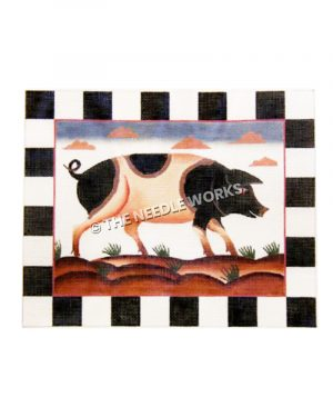 black and white hog walking on dirt with pink clouds in background and black and white checkered border