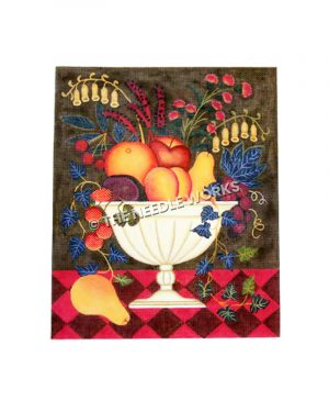 fruit and flower assortment in white vase on dark background and red checkered tablecloth