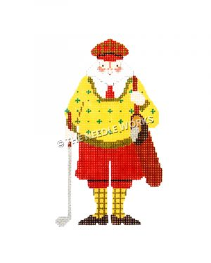 Santa dressed in yellow and red golf attire carrying golf club and bag