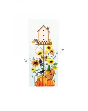 autumn birdhouse with crows, sunflowers, and pumpkins