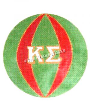 green and red ornament with Kappa Sigma Greek letters in white