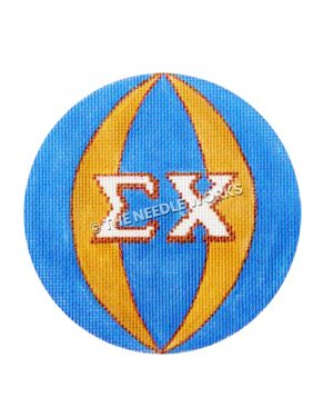 blue and gold ornament with Sigma Chi greek letters in white
