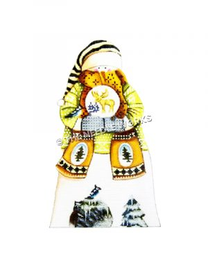 snowman in yellow sweater and gold scarf with yellow and black striped hat holding snow globe with moose and trees