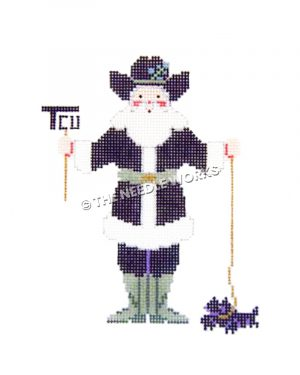 TCU themed Santa in dark purple suit holding TCU brand and horned frog by gold leash