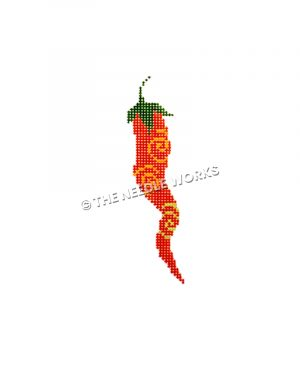 red chili pepper with orange and yellow swirls