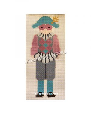 French Pierrot or mime in pink, gray, and turquoise suite with pink mask and turquoise hat