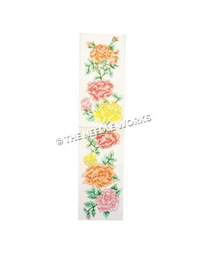 pink, orange, and yellow flowered on white eyeglass case