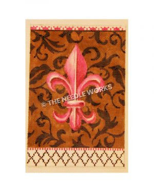 pink fleur de lis on brown background with black decorations and checkered border