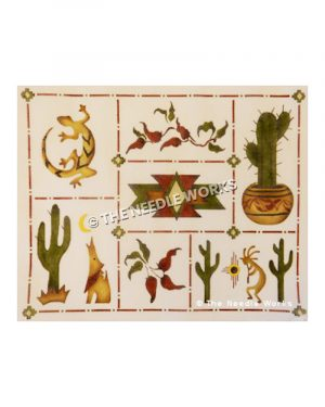 Southwestern icons including cactus, lizards, chili peppers, wolf and Kokopelli