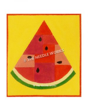 watermelon slice on yellow background with red border