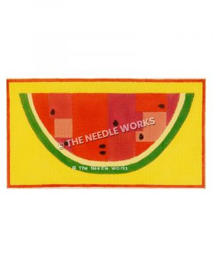 watermelon half on yellow background with red border