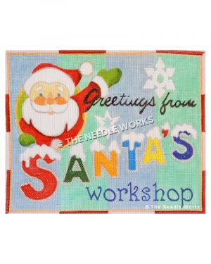 Greetings from Santa's Workshop sign with Santa waving and green and blue striped background and snowflakes