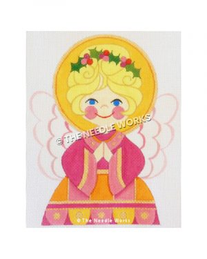 blonde angel in pink and yellow dress with mistletoe in hair