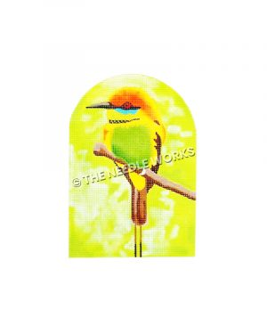 bright colored bee-eater bird sitting on branch with yellow background