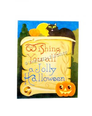 scroll with Wishing You All a Jolly Halloween written with black cat and jack-o-lantern