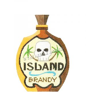 brandy bottle with skull and palm trees with words Island Brandy