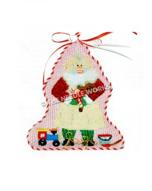 bald Santa in red and green suite with apron holding candy cane and toy train and paint bucket with red paint
