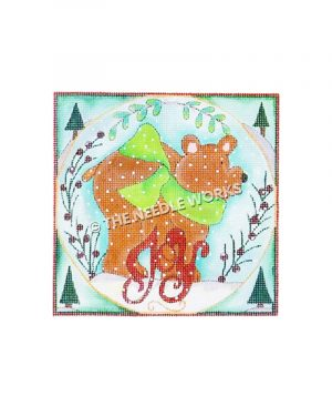 brown bear in snowscape with Joy written in red with Christmas trees on corners