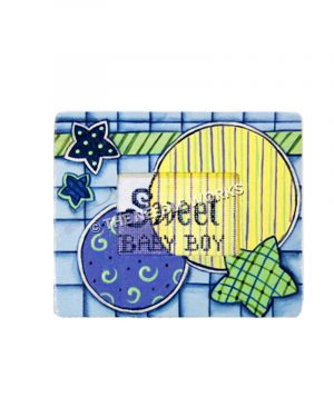 blue picture frame with Sweet Baby Boy insert on green, blue, and yellow circles and stars background