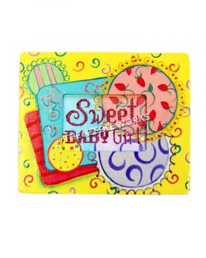 yellow picture frame with Sweet Baby Girl insert on red, purple, turquoise, red, green and yellow gifts decorations