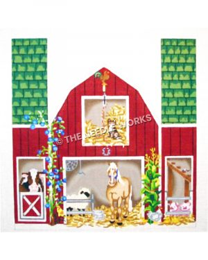red barn with green roof and farm animals