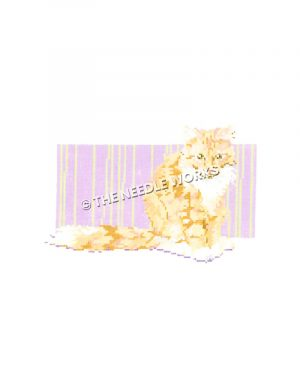 yellow cat on purple and yellow striped background