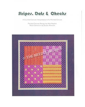 purple, red, and yellow patchwork square pattern with dark blue and gold border