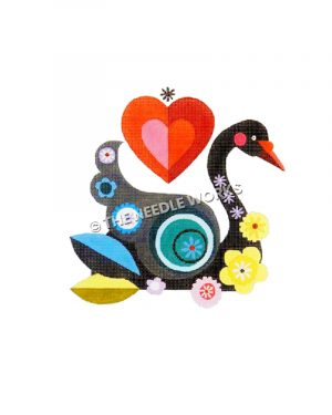 black swan with blue, purple, and yellow decorative circles and flowers with red heart in background