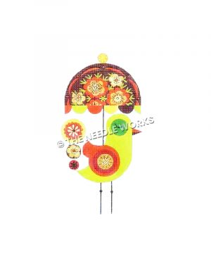 lime green bird with red circled wing holding red, and yellow flower decorative umbrella