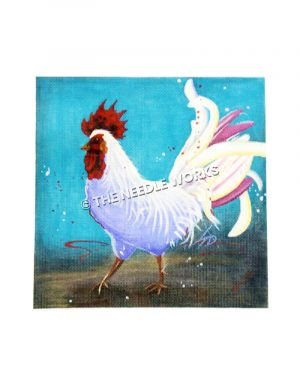white strutting rooster with white, yellow, and purple tail on blue and brown background