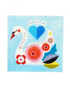 white swan with red, pink, and yellow decorative circles and flowers, blue heart in background with blue and white flowers