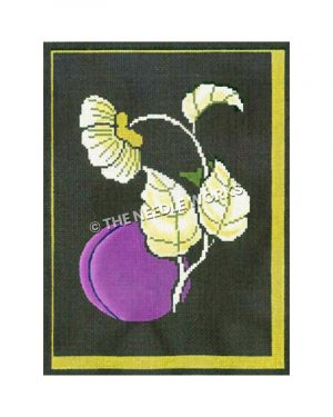 yellow flowers and leave with plum on dark green background