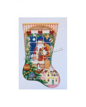 pink, yellow, and white stocking with Santa outside window holding bag with dollhouse, doll, sled and toy horse by Christmas tree and garland