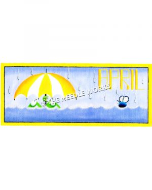 frogs sitting in rising water holding yellow and white umbrella with rain falling and word April written in sky
